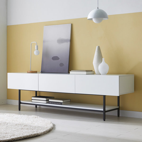마블 1800 거실장 화이트 백색 수납 선반형 TV다이 상품이미지