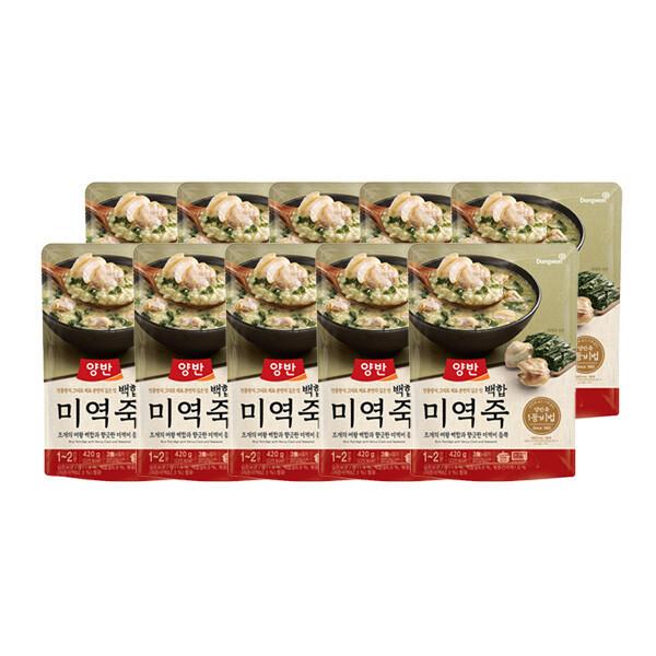 (현대Hmall) 동원  양반죽 백합미역죽 420g X 10개 /파우치죽/즉석죽 상품이미지