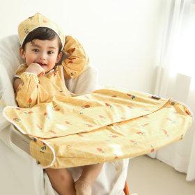 Long sleeve type-zipper type / Toddler bib/Waterproof bib/Washable/All-in-one dining table bib/BLW