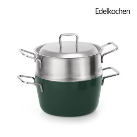 Whole 3-ply Juicy Double-handled Pot+Steamer 20cm (Mountain Green)