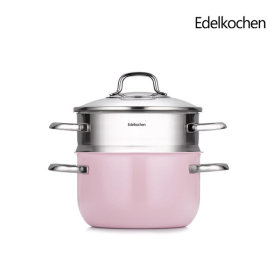 Whole 3-ply Double-handled Pot + Color High Steamer 20cm (Indie Pink)