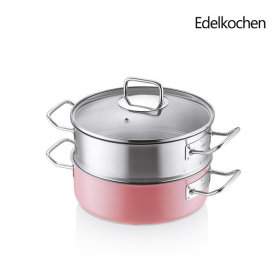 Whole 3-ply Solid Stew Pan + High Steamer 24cm (Lotus Pink)