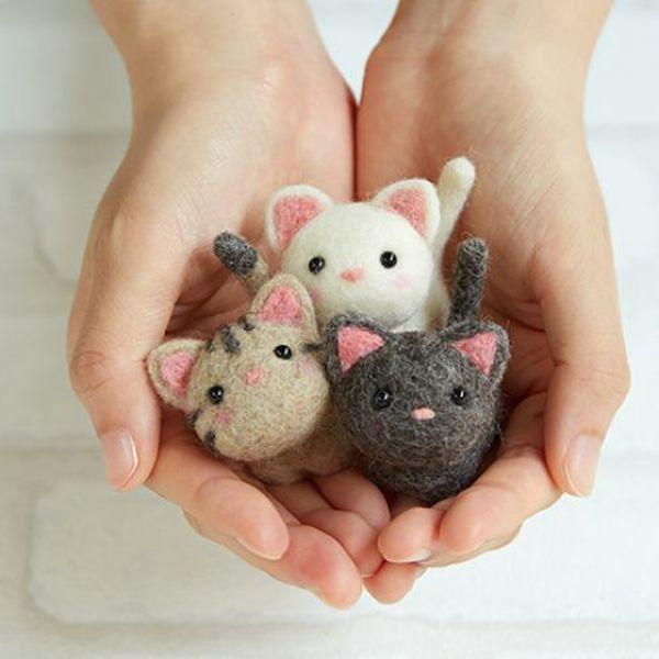 (펫돌) 하마나카 양모펠트 DIY키트 작은 고양이 친구들 441-483 상품이미지