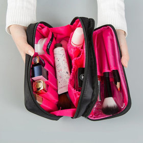 731/Double Pocket/Makeup Pouch/Travel/Mesh/Brush/Clear Up