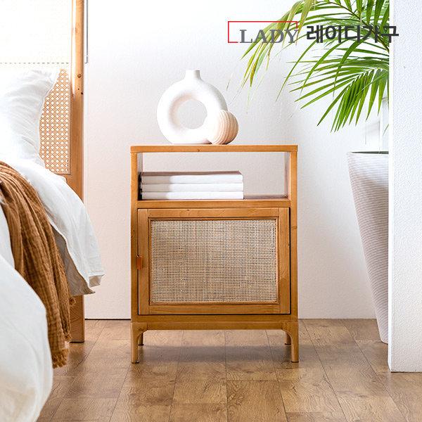 스칸딕 라탄 원목 침대 협탁 상품이미지