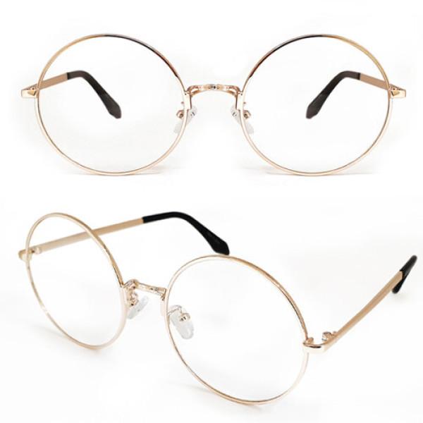 안경 싸다 빅사이즈 동글이 메탈 안경 (골드) 심플 깔 상품이미지
