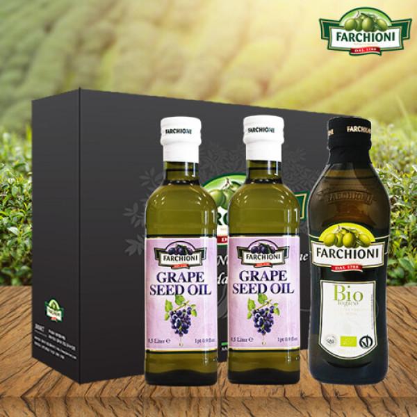 파르키오니 유기농 올리브유500ml 1병+포도씨유500ml 2병 (선물세트) 상품이미지