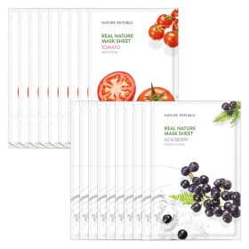 Nature Republic 10+10 Real Nature Essence Mask Pack Acai Berry + Tomato