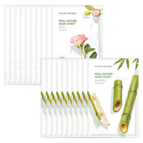 Nature Republic 10+10 Real Nature Essence Mask Pack Rose + Bamboo