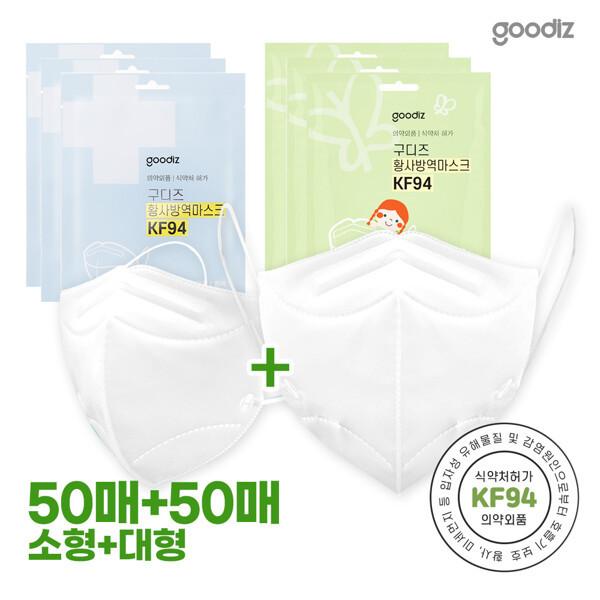 (현대Hmall)구디즈 KF94 마스크 대형50매+소형50매(총100매) 새부리형/개별포장 상품이미지