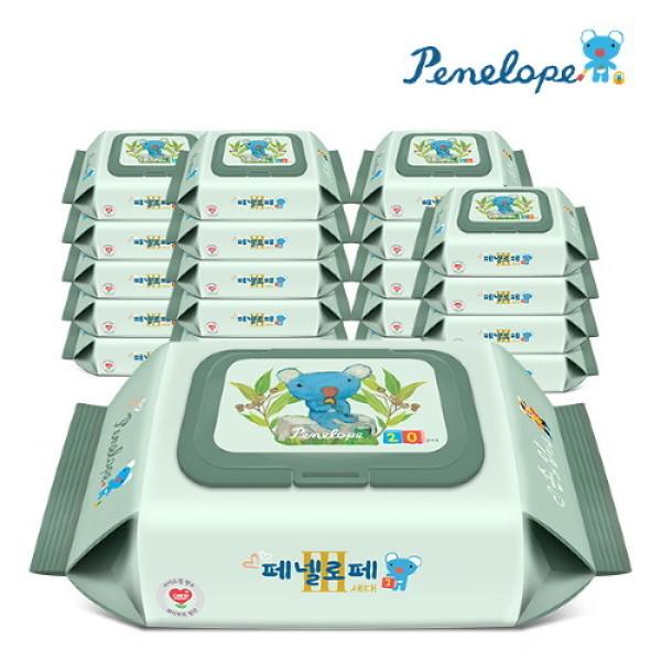 (AK몰)(페넬로페)(페넬로페) 아기물티슈 3세대 손과입티슈 캡형 20매X20팩 상품이미지