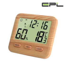 우드 온습도계 온도 습도 알람 시간 멀티 온습도계