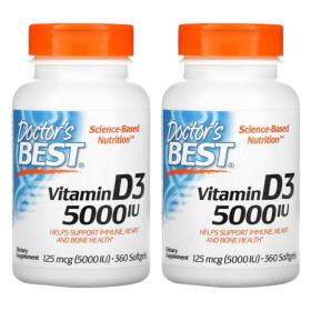 (아이허브) 2개X Doctors BEST 비타민D3 5000IU 360소프트젤 빠른직구