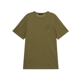 20SS 카키 포켓배색 면 반팔티셔츠 WHTS0B129K2