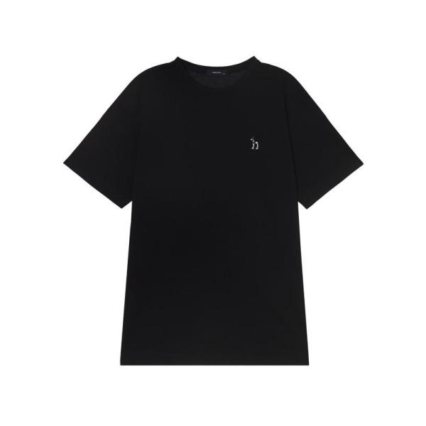 20SS 블랙 퍼피자수 면 반팔티셔츠 WHTS0B901BK 상품이미지