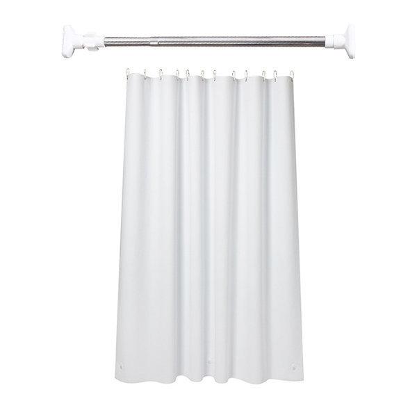 민무늬 화이트 욕실 샤워 커튼 세트 (커튼 고리 봉) 상품이미지