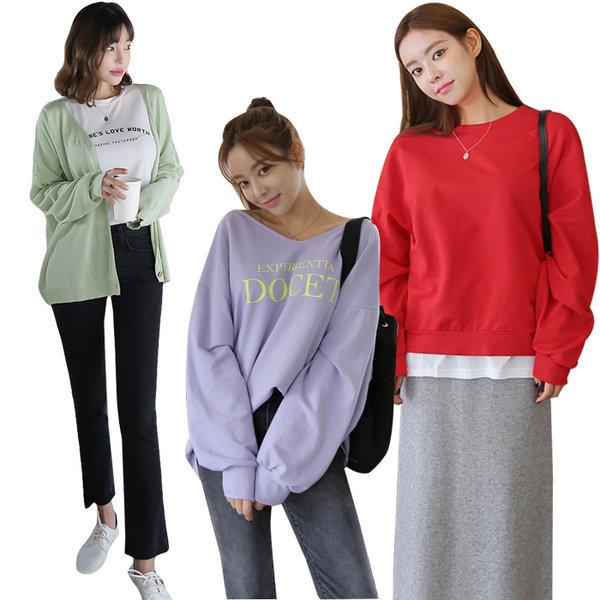 달리샵 빅사이즈 박시 루즈핏 롱티셔츠 로브맨투맨 상품이미지
