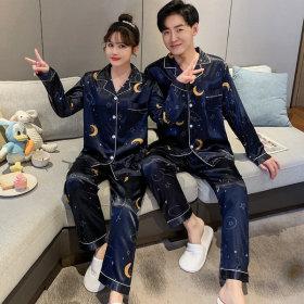 실크 커플잠옷 파자마세트 남성 여성홈웨어 다크문