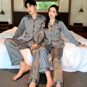 실크 커플잠옷 파자마세트 남성 여성홈웨어 체크