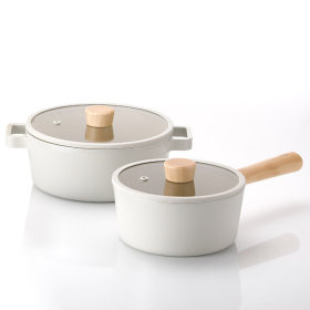 FIKA  IH Induction Pot Set of 2 Single Handle Pot Double Handle Pot