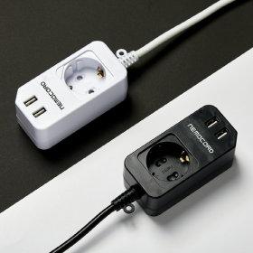 네모코드 USB 2구  코센트 코드 연장 1구 2.1M 블랙
