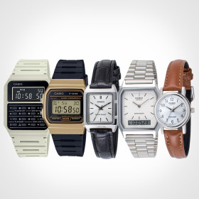 카시오 정품 남자여자커플 메탈가죽 패션전자손목시계