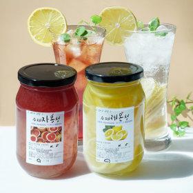 1+1 첨가물없는 수제과일청 레몬청 500g+자몽청 500g