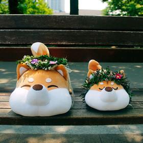 모찌 강아지 고양이 동물 쿠션 애착 인형  시바견 50cm