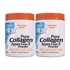 2개 Doctors BEST 퓨어 먹는 콜라겐 타입 1   3 저분자 펩타이드 파우더 분말 가루 200 g 빠른직구