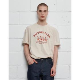 21SS  남녀공용  베이지 피즈크루 빅로고 티셔츠 SPTS1E303I1