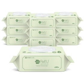 릴리유 퓨어그린 아기물티슈 캡 80매 10팩 C