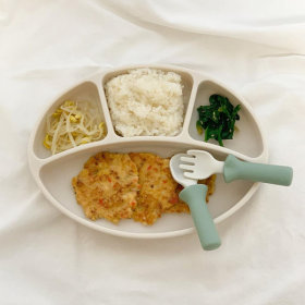 Silicone Spoon Fork+Suction Plate Set Baby Tableware