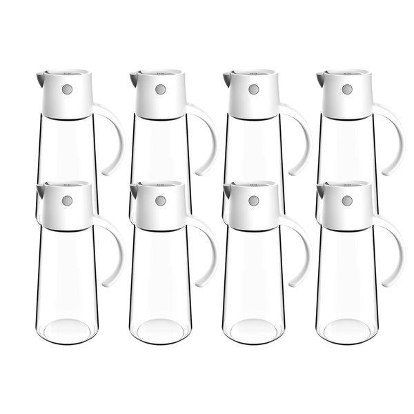 자동열림 유리 양념병 오일병 (대-화이트) 650ml 8개 상품이미지