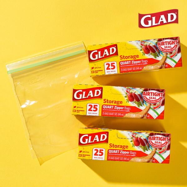 글래드  냉장형 중형 지퍼백(25매입) 3개 세트 상품이미지