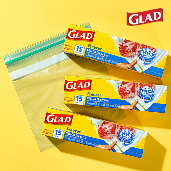 글래드  냉동형 대형 지퍼백(15매입) 3개 세트 상품이미지