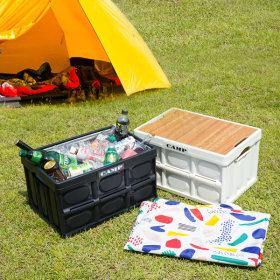 접이식 캠핑박스+테이블용우드상판+방수포 +스티커3종