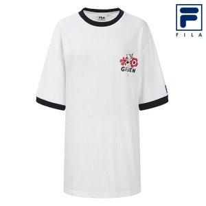 남녀공용 휠라 X 숄토 플라워 라운드 반팔 티셔츠