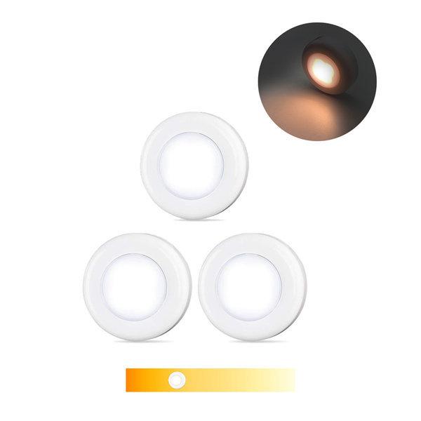 AAA건전지 LED원형 온오프 버튼등 3개입 옷장 보조등 상품이미지