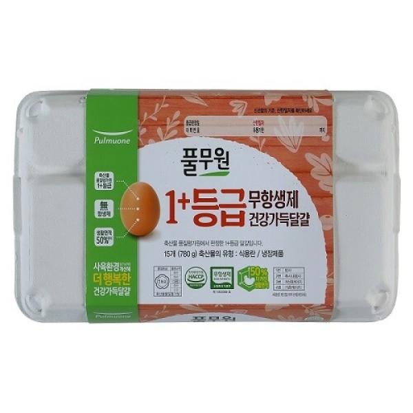 풀무원 1+등급 건강가득달걀(대란) (15입/780G) 상품이미지