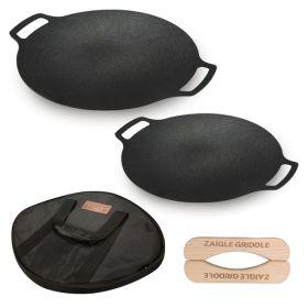 자이글 IH캠핑 그리들 2종세트(36cm+30cm)+전용파우치 2개+보관가방+우드손잡이