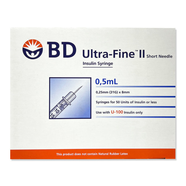 BD 인슐린 주사기 31G 8mm 0.5cc 100개입 상품이미지