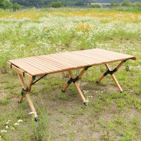 감성 접이식 원목 야외용테이블 우드 롤 테이블(1200)