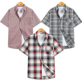 Plaid Button-Down/Short Sleeve/Shirts/Summer/Button-Down Shirt/Men/Clothes