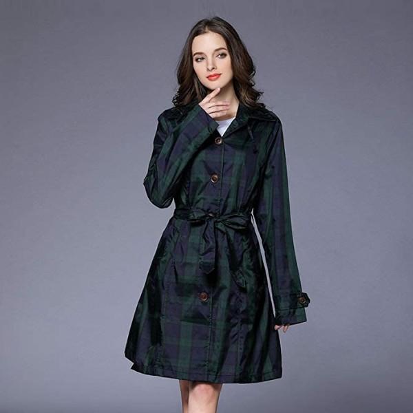 갓샵  여성 골프 비옷 우비 레인코트 체크  우의 방수 여자 레인 코트 자켓 웨어 비올때 상품이미지