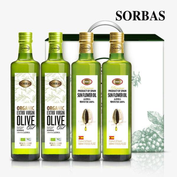 소르바스 유기농 올리브유2병 해바라기유2병 세트 상품이미지