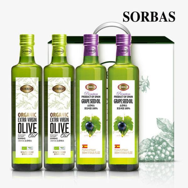 소르바스 유기농 올리브유2병 포도씨유2병 세트 상품이미지