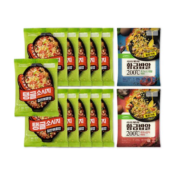 풀무원  () 탱글소시지 철판볶음밥 11봉 + 황금밥알 볶음밥 2종(포크앤스크램블  새우 상품이미지