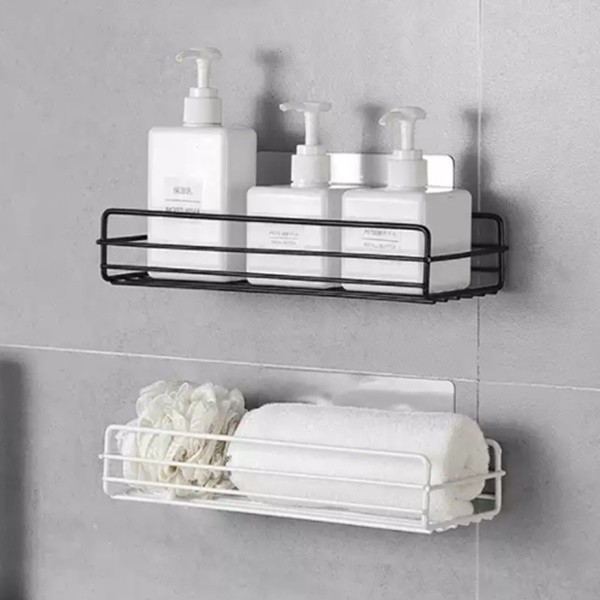 갓샵  욕실 철제 일자 선반 2color  무타공 흡착식 화장실 벽 세면대 샤워실 부착 상품이미지