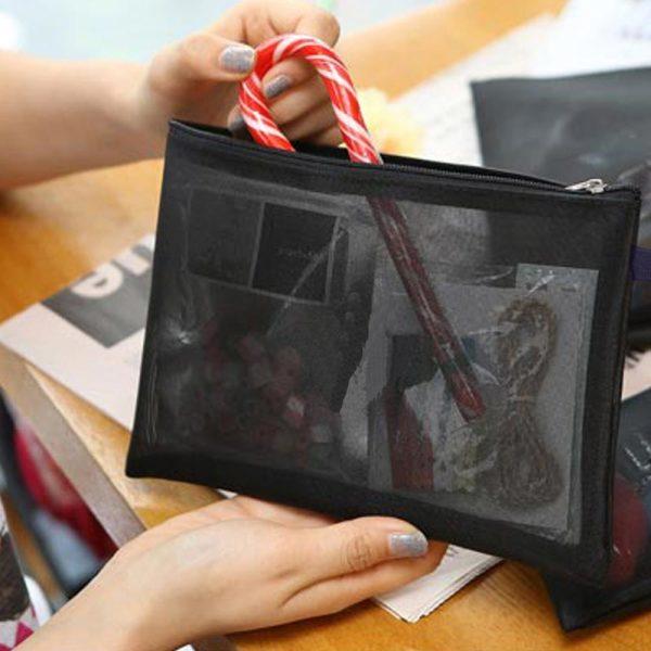 메쉬 망사 화장품파우치(중) 여행용 파우치 가방 상품이미지