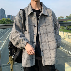 남성 체크무늬 코트 모직 코트 아우터 루즈핏